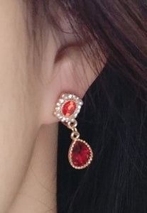 Baroque Style Exquisite Red Zicron Pendant Silver Earrings ear clip
