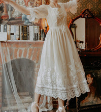Load image into Gallery viewer, Retro Ethereal Lace up Embroidery Princess Dress