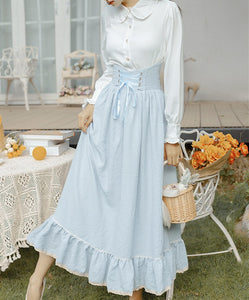 Retro Pastel Skirt Set 40s Blouse blue skirt set