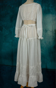 Vintage Handmade Embroidery Cotton Chemise Home wear 2 pieces
