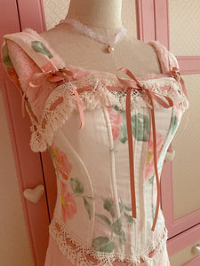 Handmade Vintage Floral lace up Corset Top