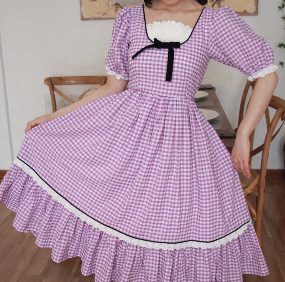 Cottagecore Gingham Puff Sleeves Vintage 50s Dress