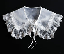 Load image into Gallery viewer, Retro Cottagecore Lace organza embroidered faux collar Accessories