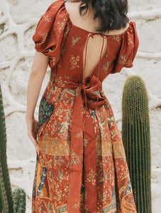 Vintage Court Style Oil Painting Print Dress