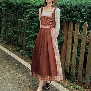 Farmcore Cottagecore Fabric Stitching Prairie Peasant Vintage Dress