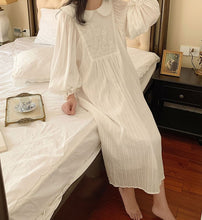 Load image into Gallery viewer, Cottagecore Embroidery Nightgowns Cotton Night Dress