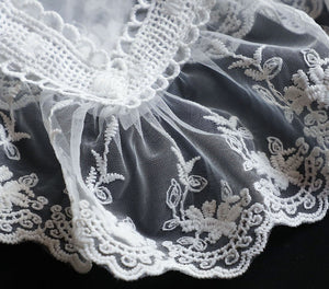 Retro Cottagecore Lace organza embroidered faux collar Accessories