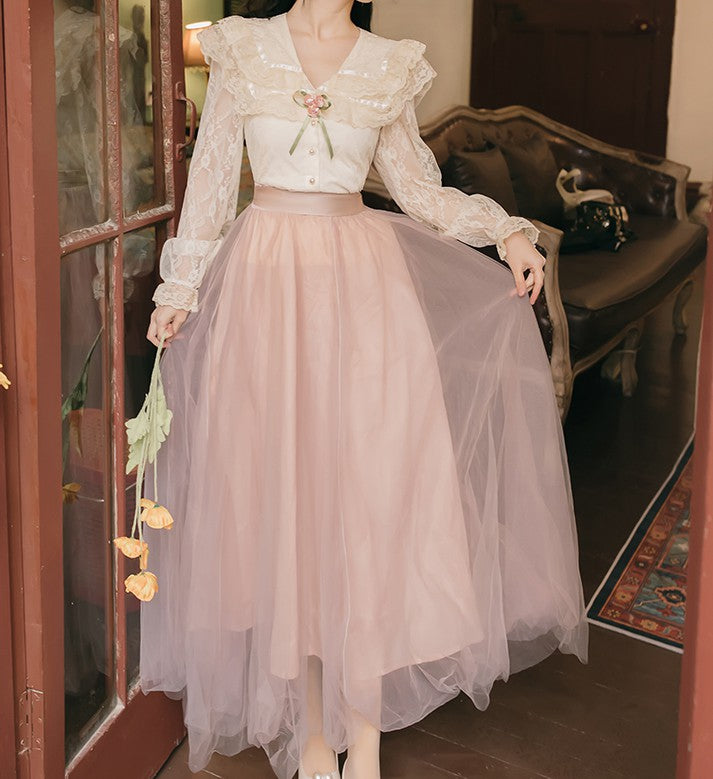 Victorian style Vintage Lace blouse top yarn skirt set