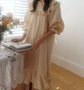 Cottagecore  Ruffled Collar Cotton Retro Night Gown Dress