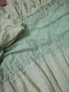 Vintage Lace Stitching Green Princess Dress