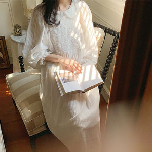 Cottagecore Embroidery Nightgowns Cotton Night Dress