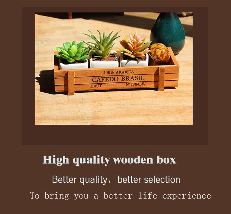 Antique Wooden Cargo Crate Storage Box Tabletop Sundries Container Cosmetics Organizer Jewelry Storage Box Plant Pot Tray