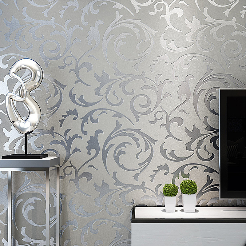 3D Embossed Vintage Damask Silver Gray Wallpaper Retro Victorian Home Decor Silver Floral Living Room Bedroom Wall Coverings Luxury Modern Wall Paper