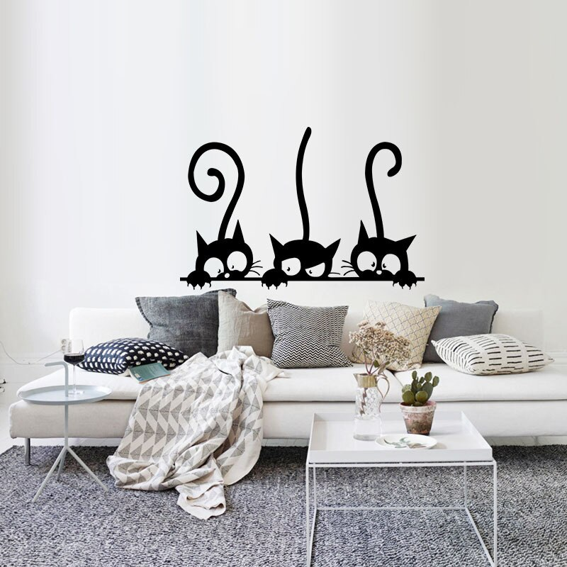 3 Cute Cats Wall Decal 30x20cm For Kitchen Wall Living Room Bedroom Removable PVC Sticker Mischievous Cats Mural For Cat Lovers