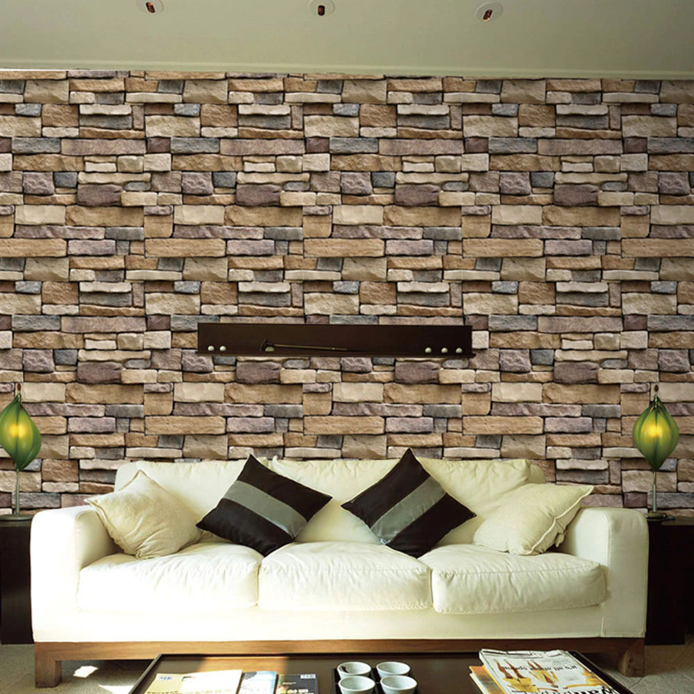 Self Adhesive Stone Brick Design DIY Home Decor Creative Wallpaper Waterproof Wall Covering Wall Sticker For Living Room Bedroom Bathroom Kitchen Wall Decor.