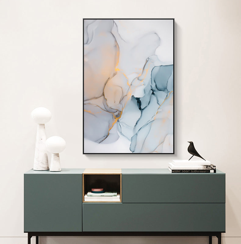 Abstract Fantasy Liquid Marble Print Wall Art Fine Art Canvas Prints Blue Jade Green Contemporary Pictures For Office Or Living Room Decor