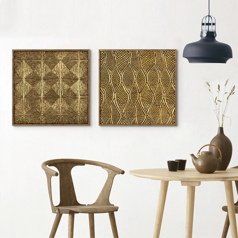Abstract Gold Geometric Luxury Wall Art Vintage Retro Patterned Painting Fine Art Canvas Prints Modern Pictures For Living Room Bedroom Home Interior Decor