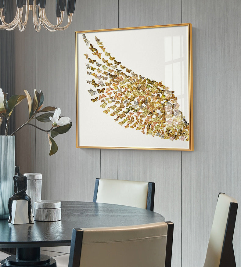 Abstract Golden Butterfly Wings Wall Art Fine Art Canvas Prints Fashion Pictures For Bedroom Living Room Stylish Art For Glamorous Home Interiors Luxury Decor