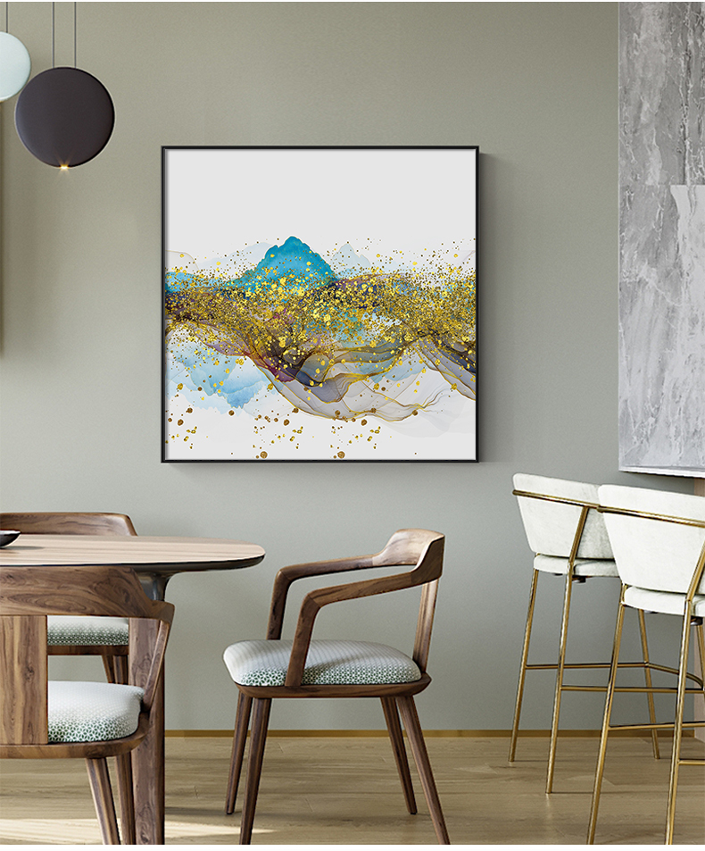 Abstract Golden Mountain Reflections Fine Art Canvas Prints Blue And Gold Contemporary Wall Art For Modern Home Or Office Interior Decor