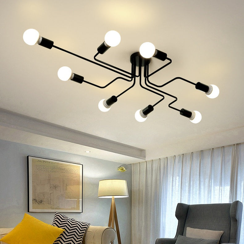 Abstract Modern Industrial Design Chandelier Ceiling Light With Multiple Head Light Fittings For Home Office Living Room Dining Room Contemporary Lighting Finished In Iron