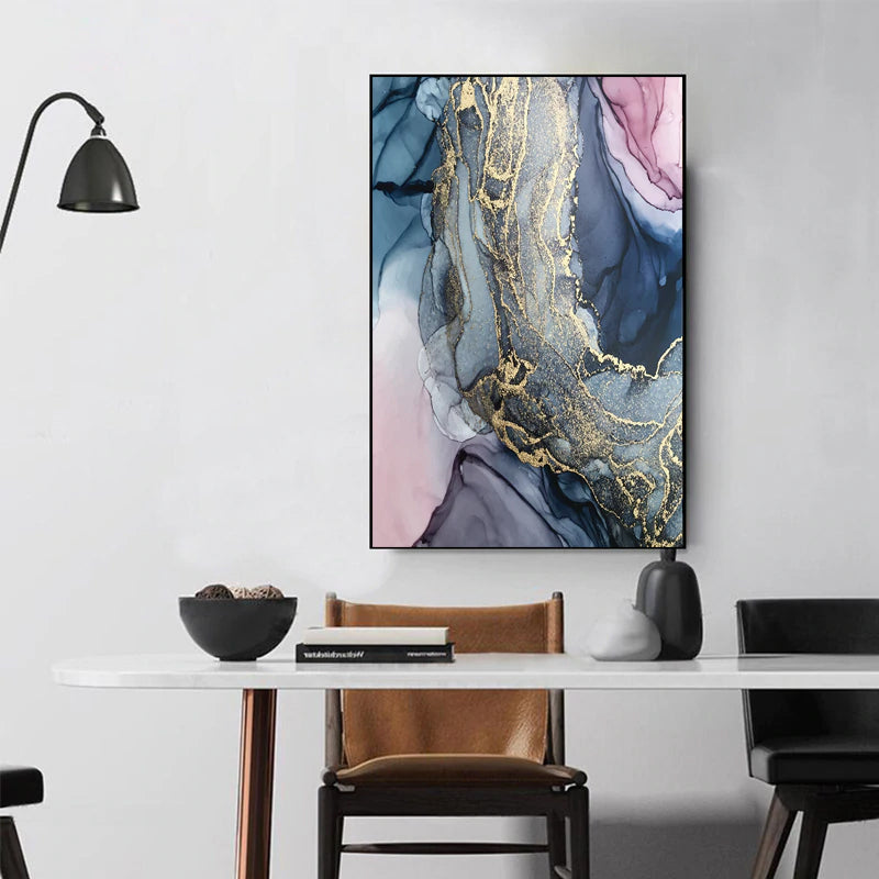 Abstract Pink Purple Blue Marble Design Wall Art Fine Art Canvas Print  Picture For Living Room Office Bedroom Poster For Modern Home Interior Decor