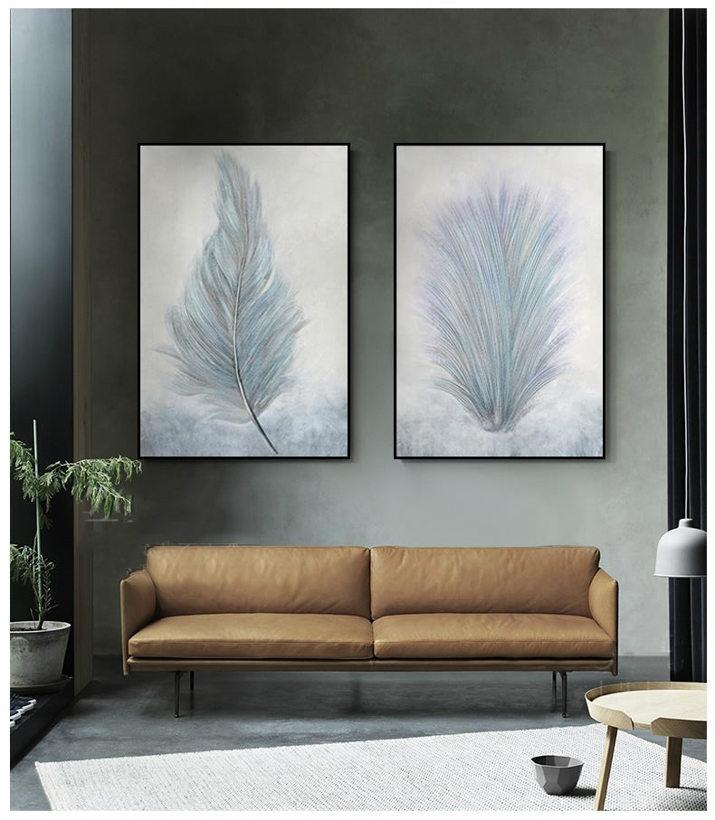 Abstract Soft Feather Botanical Lifeforms Wall Art Fine Art Giclee Canvas Prints Modern Paintings For Contemporary Office Or Home Living Room Decor