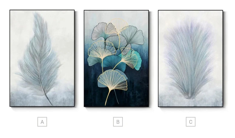 Abstract Soft Feather Botanical Lifeforms Wall Art Fine Art Giclee Canvas Prints Modern Paintings For Contemporary Home Office Decor