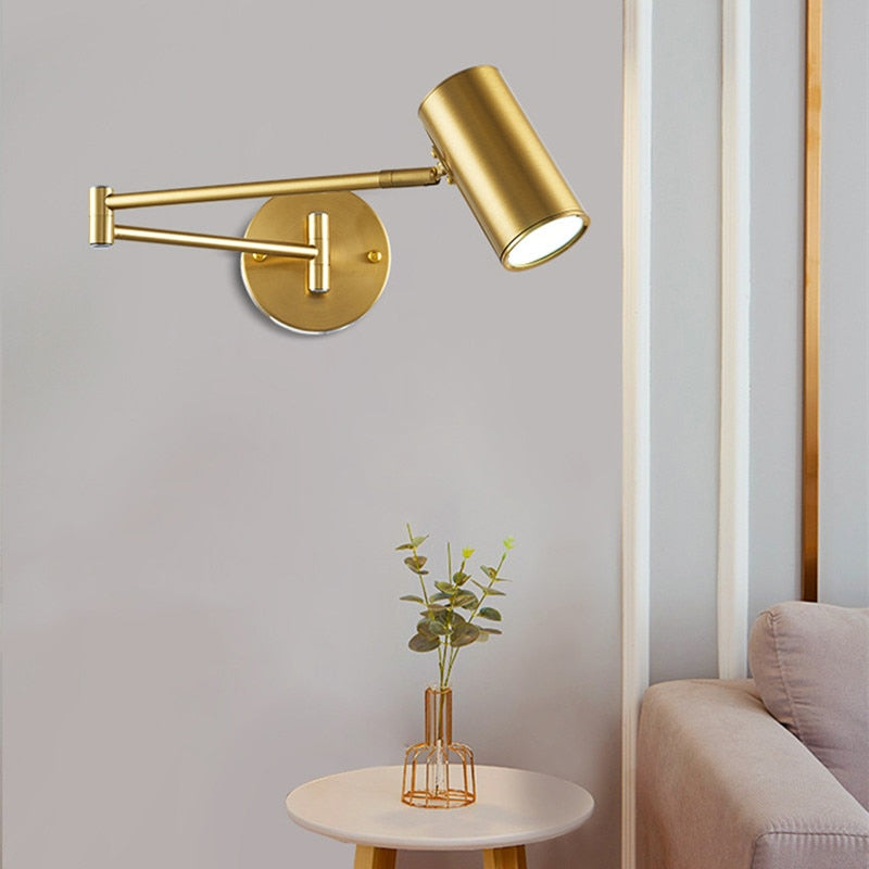 Adjustable Wall Mounted Long Swing Arm Reading Light LED Lamp For Bedroom Bedside Living Room Home Office Contemporary Interior Designer Lighting