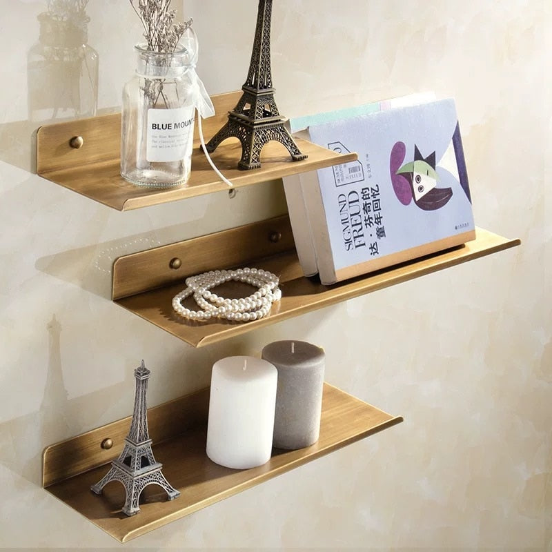 Antique Brass Shelf Shower Rack Modern Stylish Shelving For Washroom Single Tier Cosmetics Shelf For Bathroom Polished Finished Copper Brass Washroom Fittings