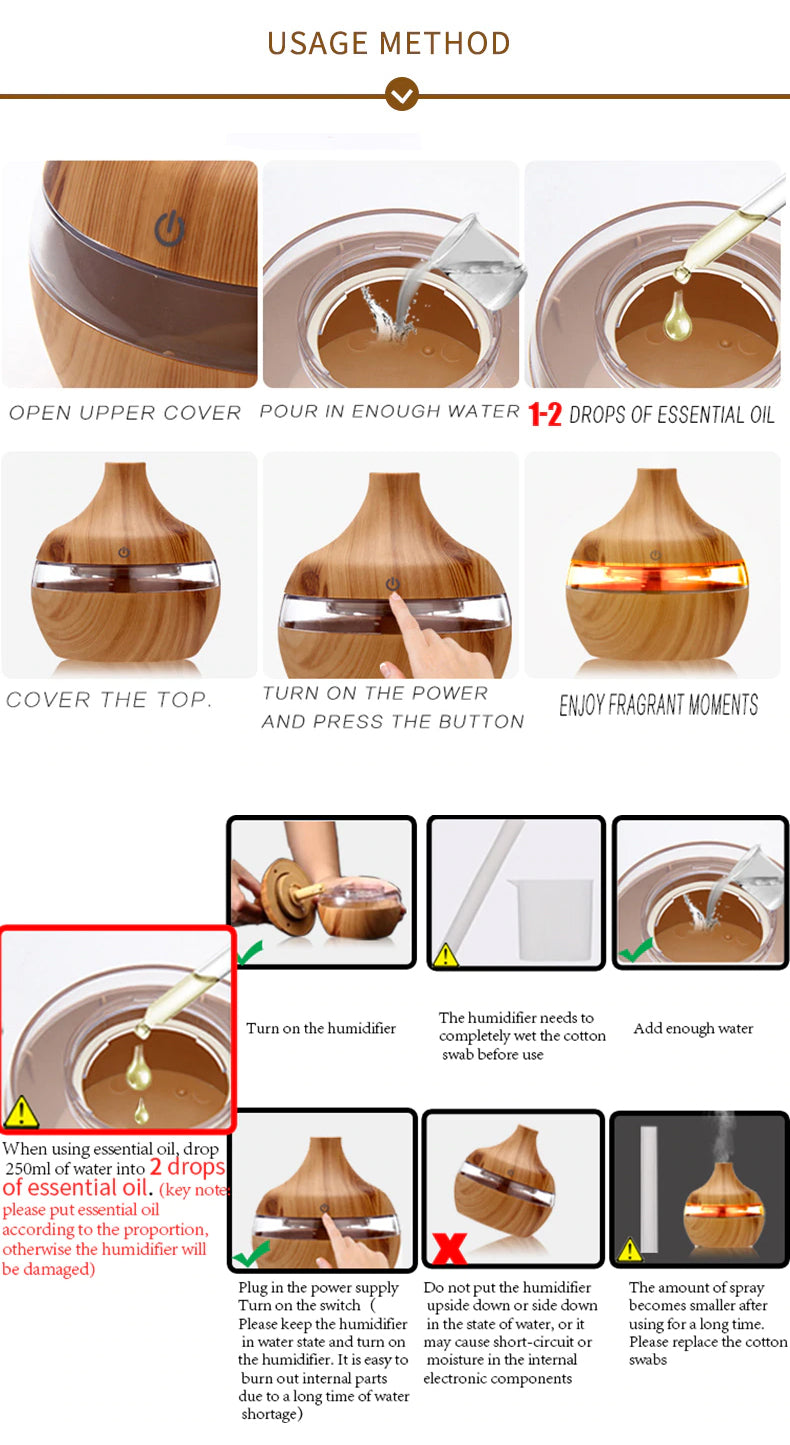 Aromatherapy Essential Oil USB Electric Oil Diffuser Ultrasonic Air Humidifier Wood Grain Mini Mist Maker Bedside LED Light