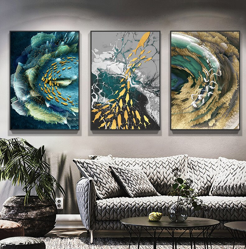 Auspicious Abstract Wall Art Golden Fish Deep Blue Green Sea Fine Art Canvas Prints Luxury Wall Art Pictures for Living Room Home Office Decor