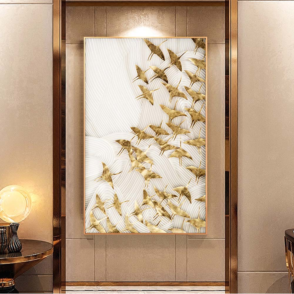 Auspicious Golden Birds Wall Art Fine Art Canvas Giclee Print For Bedroom Living Room Dining Room Modern Nordic Style Pictures For Contemporary Home Decor