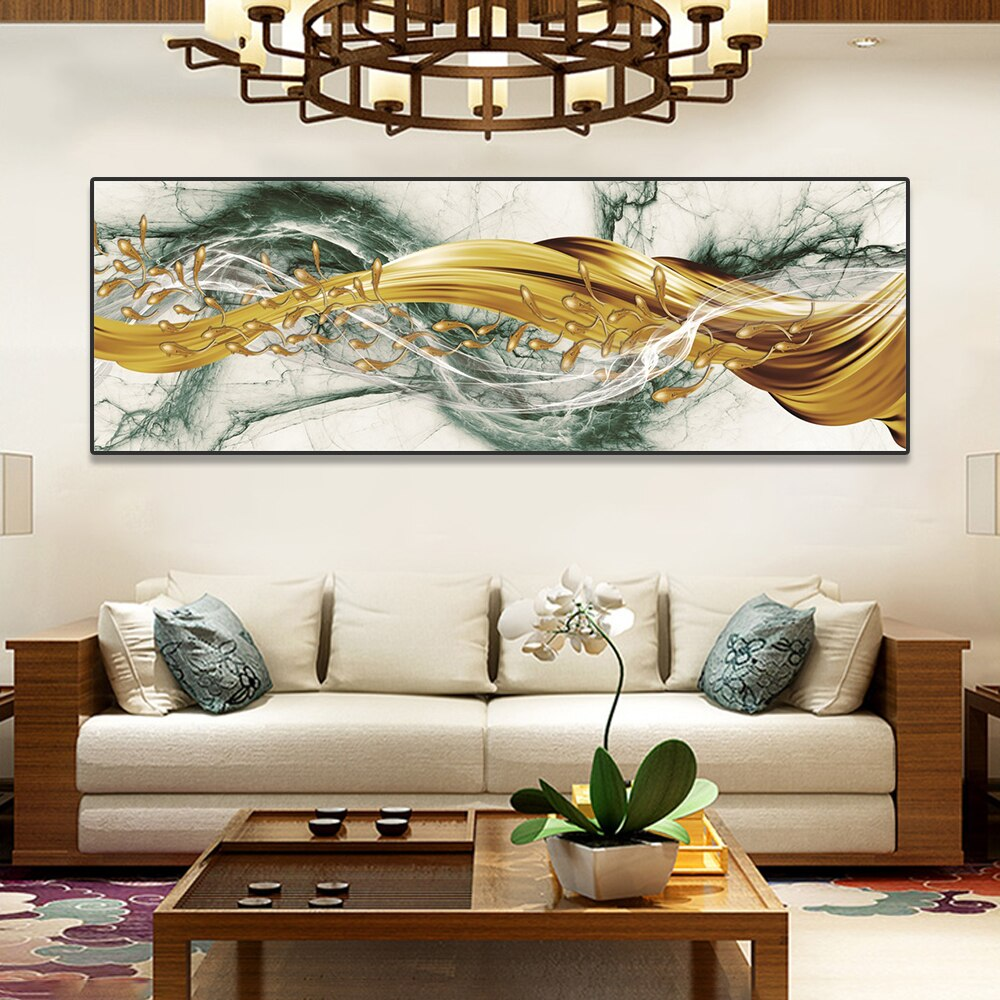 Auspicious  Golden Fish Wide Format Wall At Fine Art Canvas Print Modern Abstract Luxury Picture For Above Sofa Living Room Dining Room Home Decor