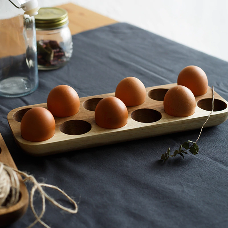 Authentic Japanese Style Egg Holders Natural Wood Trays For Serving Storing Eggs Kitchen Table Organizer Wooden Egg Racks
