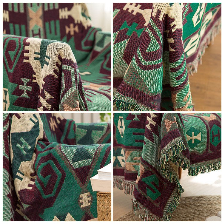 Aztec Bohemian Green Sofa Throw Blanket Soft Plaid Patterned Printed Home Slip Over For Chair Sofa Modern Bedspread Blanket For Bedroom or Living Room