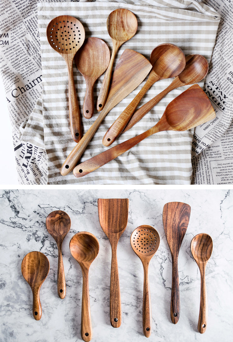 Bali Teak Handmade Natural Wood Kitchen Utensil Tableware Tool Set Cooking Baking Mixing Spoon Ladle Rice Colander Soup Skimmer