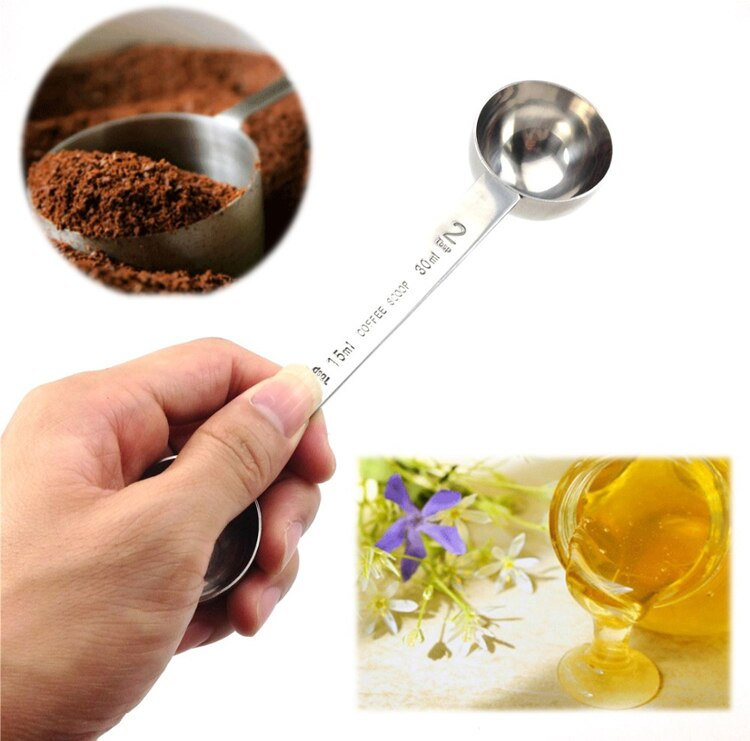 Baristas Stainless Steel Coffee Scoop Multi-Functional Long Handle Coffee Measuring Spoon For Ground Coffee Condiments Kitchen Coffee Spoon Cafe Coffee Accessories