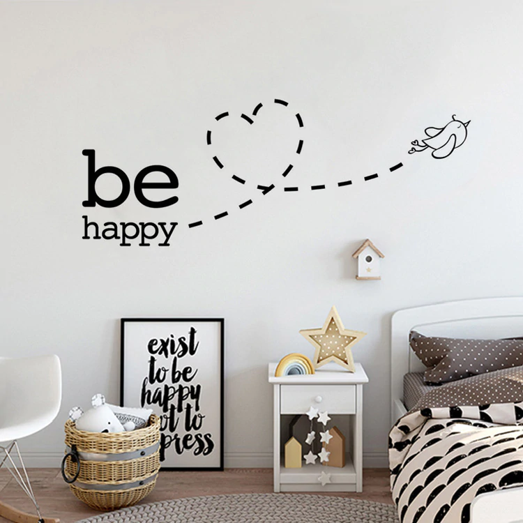 Be Happy Wall Sticker Cute Flying Bird Love Heart Wall Decal For Nursery Room Kids Bedroom Wall Decals Cute Removable PVC Wall Stickers