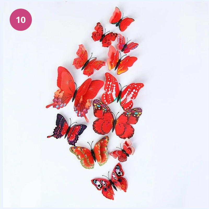 Beautiful 3D Butterflies Adhesive Magnetic Fridge Stickers Wall Decor Colorful Double Winged Butterflies Party Gifts Kitchen Decoration