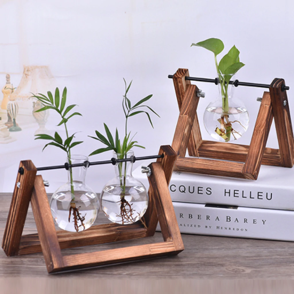 Beautiful Terrarium Hanging Glass Plant Vases Desktop Hydroponic Flower Hanging Pots With Wooden Tray Clear Glass House Plant Decor
