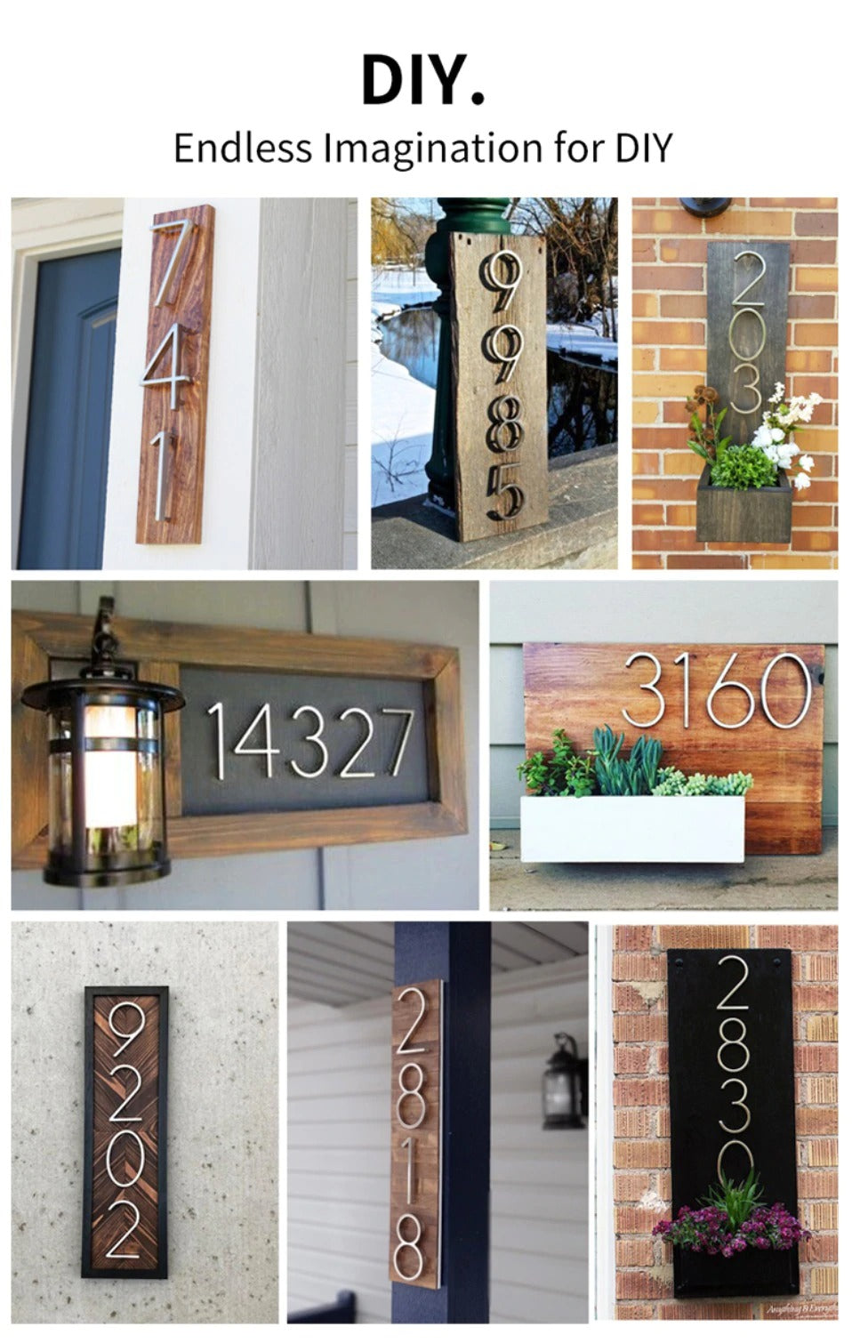 Big Modern Silver House Numbers 127mm Zinc Alloy Waterproof 0-9 Front Door Numbers Homes Office Buildings Hotels etc With Floating Bushes