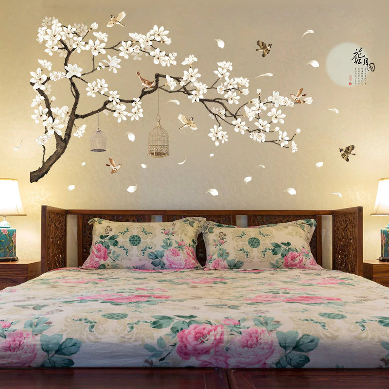 Birds In A Blossom Tree Big Wall Decal For Bedroom Living Room Decor Removable Wall Sticker Cute Nursery Wallpaper Decor 187x128cm