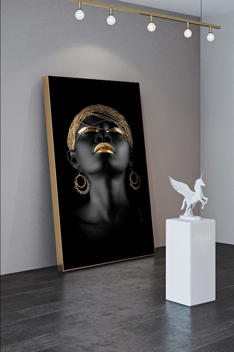 Black Gold Woman Wall Art Fine Art Canvas Prints Luxury Lifestyle Minimalist Pictures For Living Room Dining Room Bedroom Glamorous Wall Art Decor