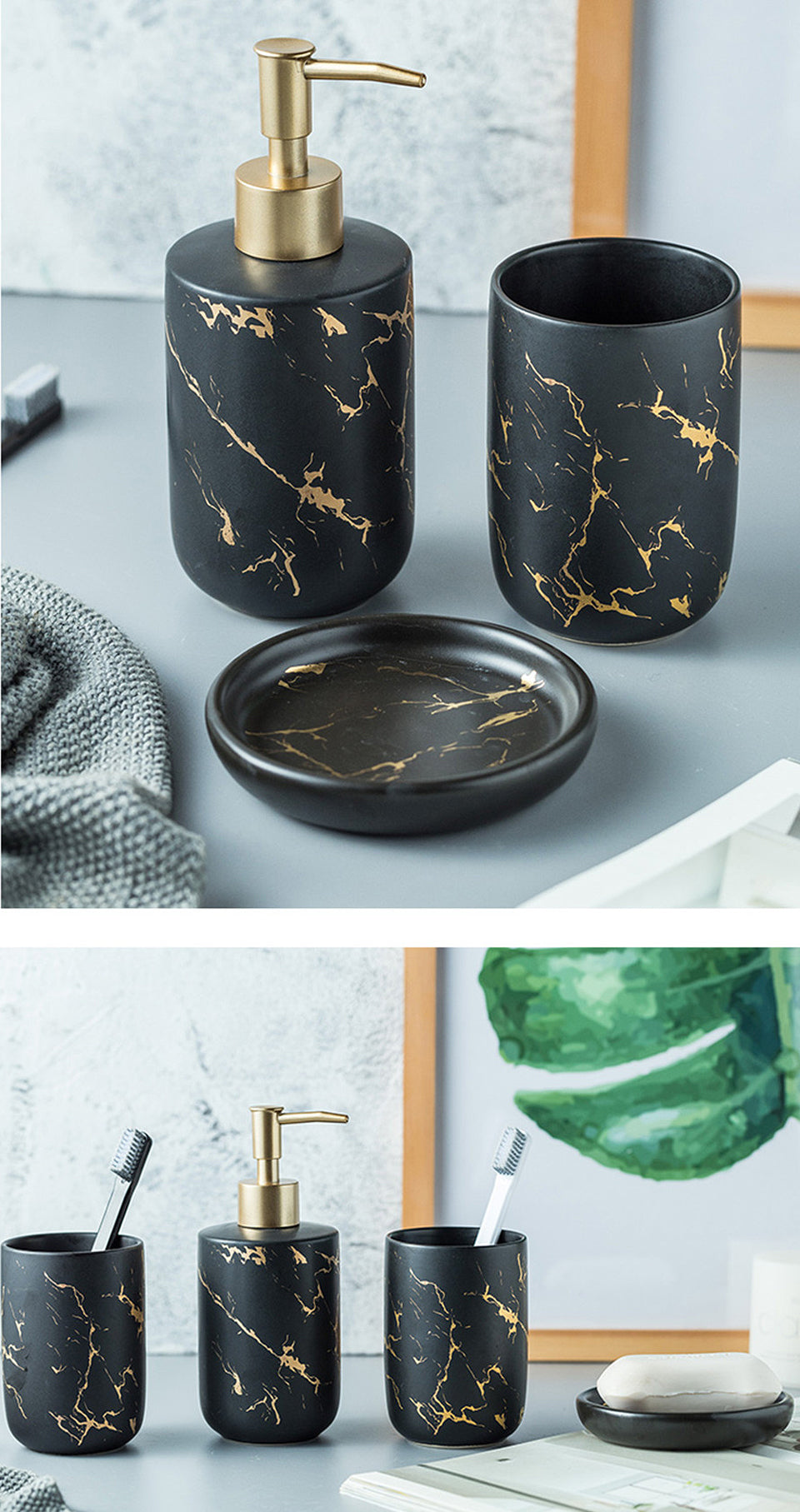Black White Nordic Style Marble Ceramic Bathroom Accessories Soap Dispenser Pump Mouthwash Cup Soap Dish Tooth Brush Holder Modern Washroom Bathroom Essentials