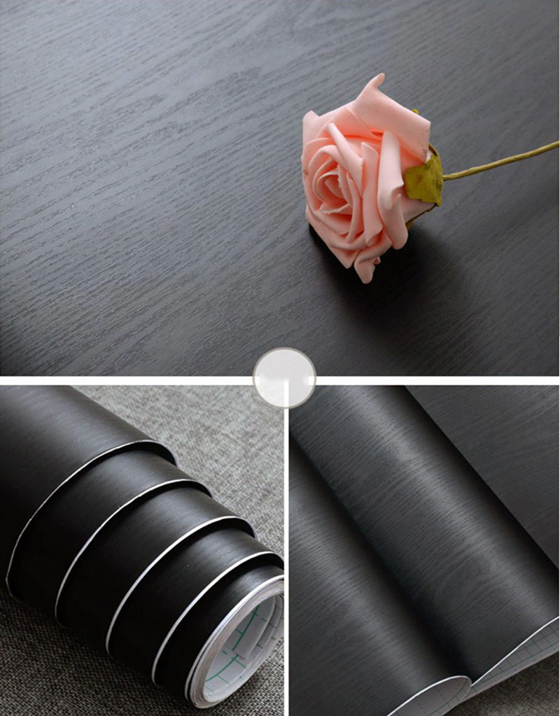 Black Wood Self Adhesive PVC Vinyl Surface Covering Wood Effect Wallpaper Roll Wrap For Covering Furniture Drawers Desktop Worktop Cabinets Wardrobe etc