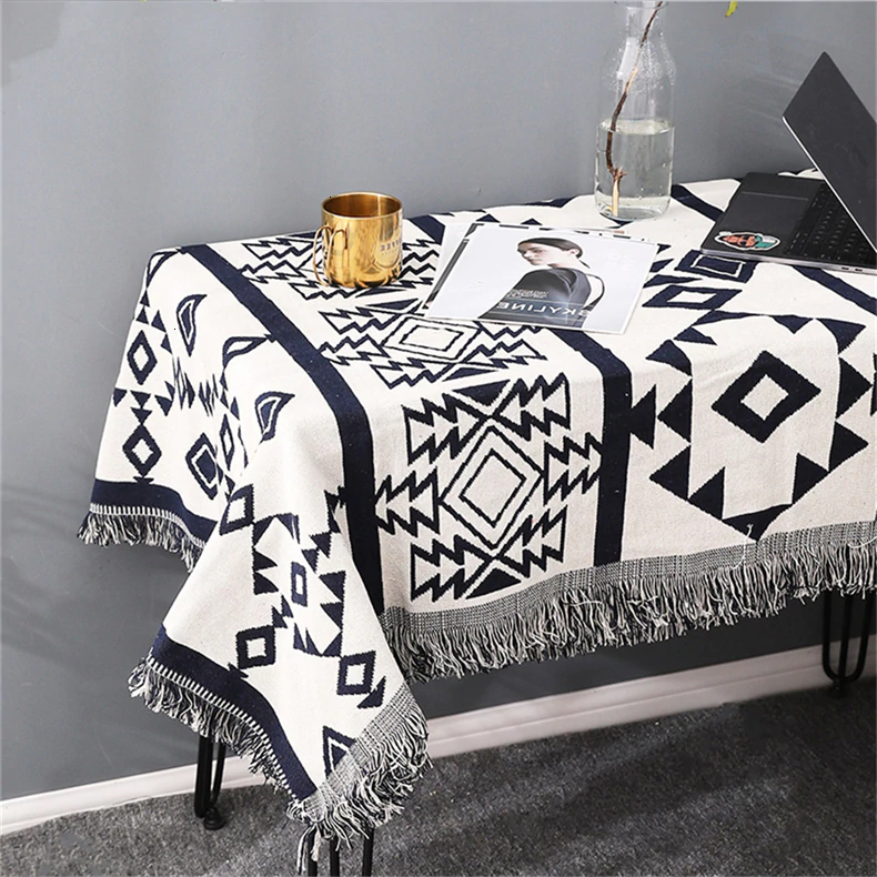 Bohemian Black & White Geometric Sofa Blanket Throws Simple Cotton Bedspread Sofa Cover Knitted Blanket For Bed Travel Blanket