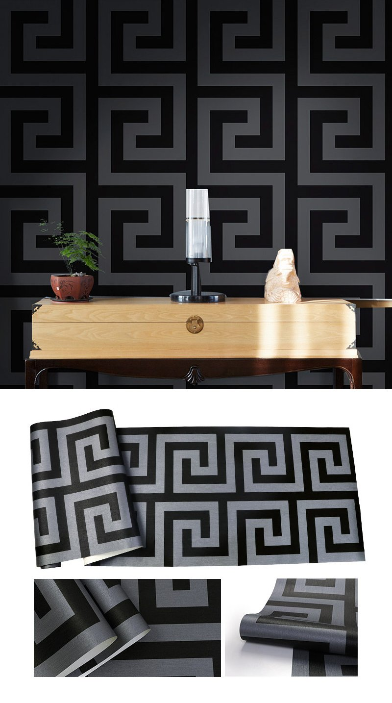 Bold Luxury Greek Tiles Style Geometric Wallpaper Satin Effect Wall Paper For Living Room Bedroom Salon Boutique (10mtr Roll)