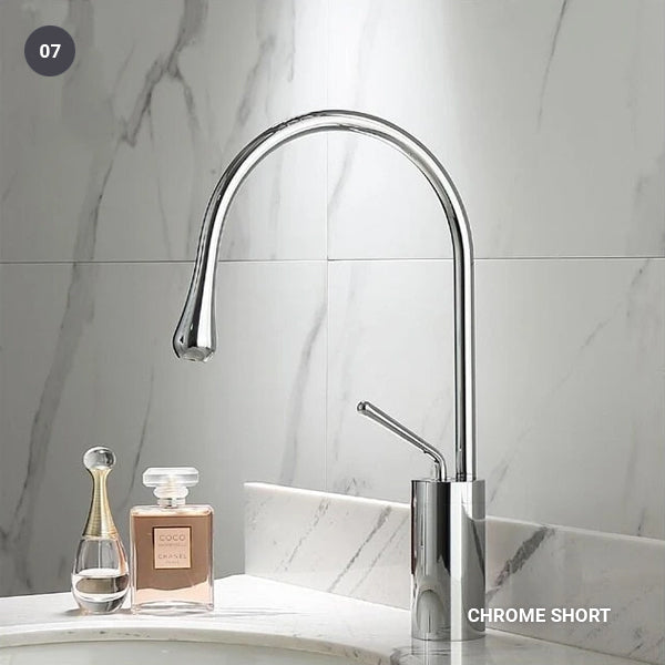Brass Mixer Tap For Bathroom Basin Modern Contemporary Design Single Lever 360 Degree Rotation Spout For Kitchen Or Bathroom