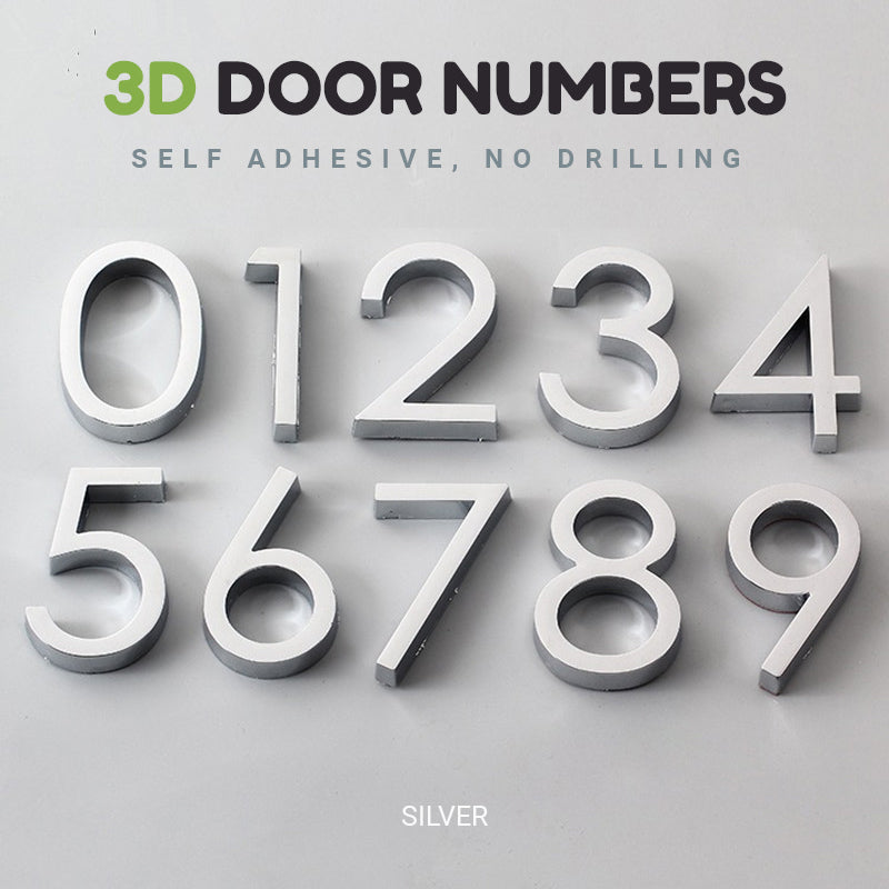 Bright Modern 3D Door Number For Hotel Rooms Residential Home Business Office Signage Self Adhesive Numbers Electroplated Plastic Signage Digits