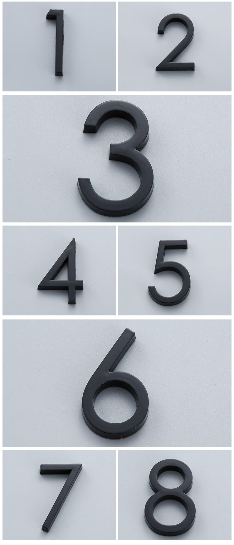 Bright Modern 3D Door Numbers For Hotel Rooms Residential Business Office Signage Self Adhesive Numbers Electroplated Plastic Digits #0-9